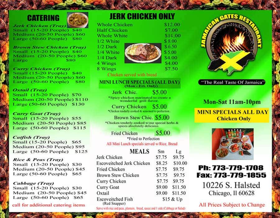 Jamaican Food Catering Menu