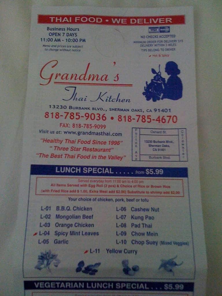 Grandma S Thai Kitchen Menu Urbanspoon Zomato