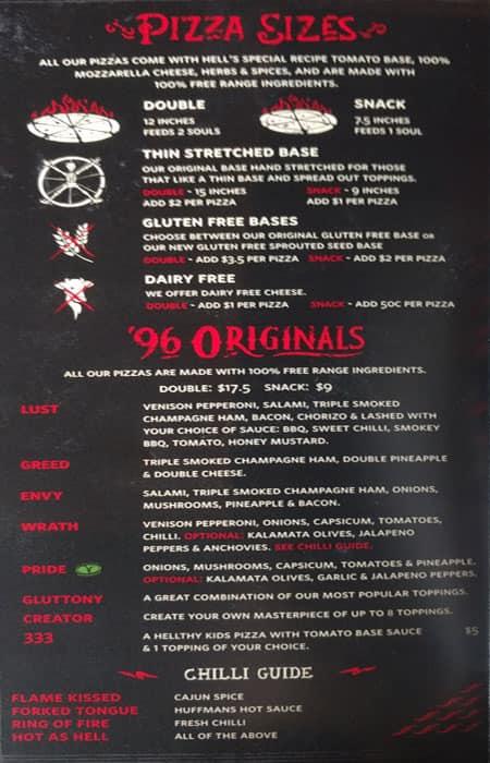 Hell Pizza Menu, Menu for Hell Pizza, Hillcrest, Hamilton