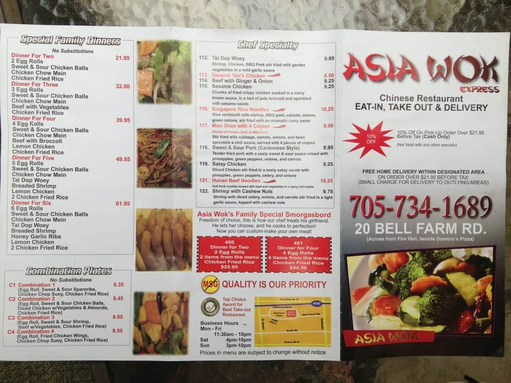 asia wok menu menu for asia wok barrie barrie urbanspoon zomato. Black Bedroom Furniture Sets. Home Design Ideas