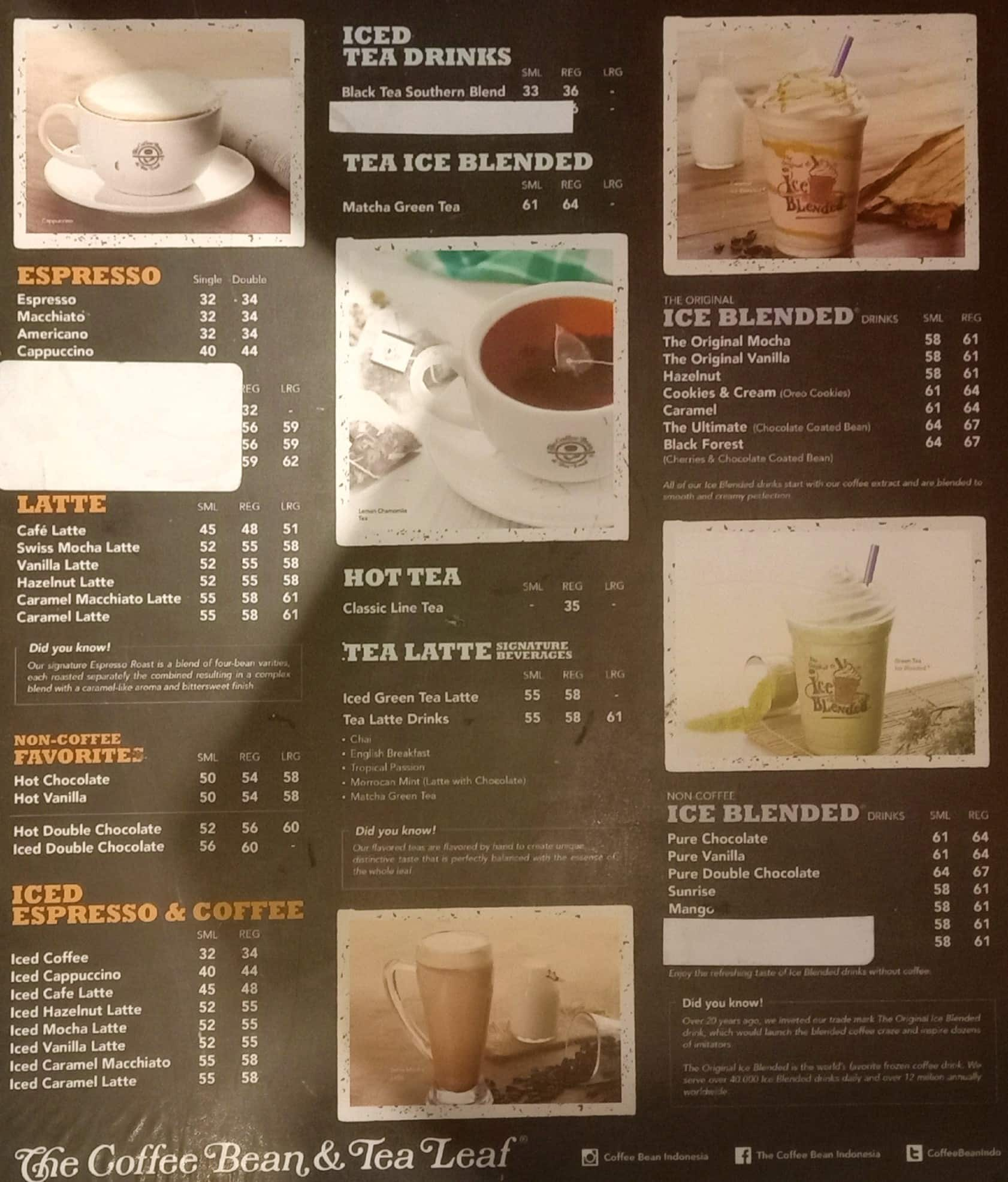 The Coffee Bean Tea Leaf Menu Zomato Indonesia