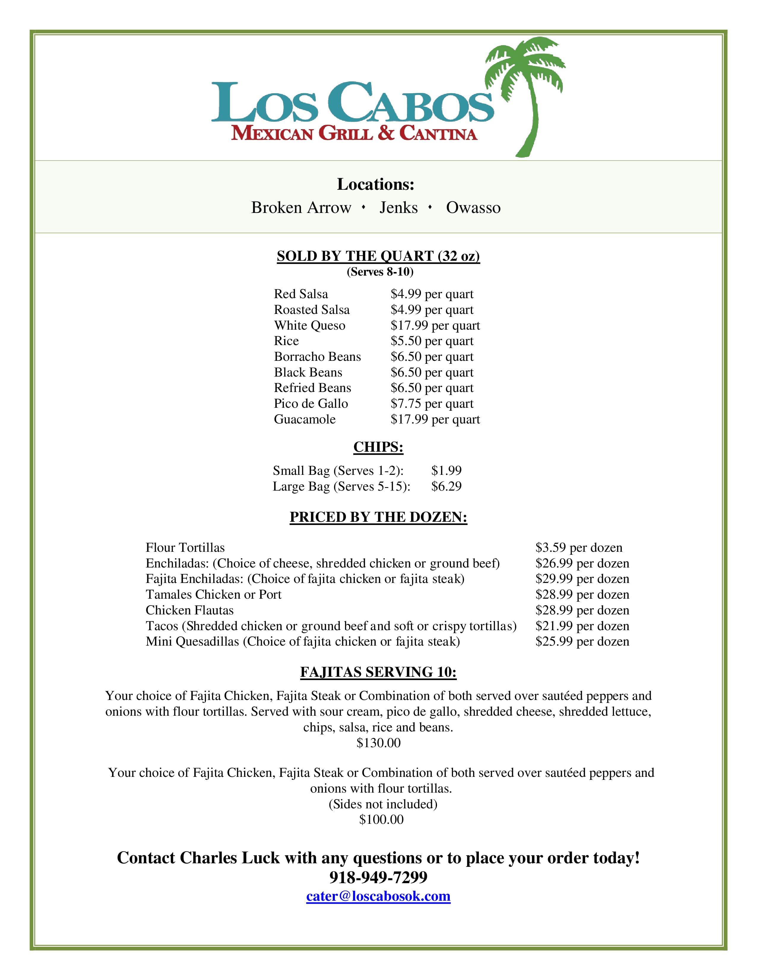 Los Cabos Restaurants Menu