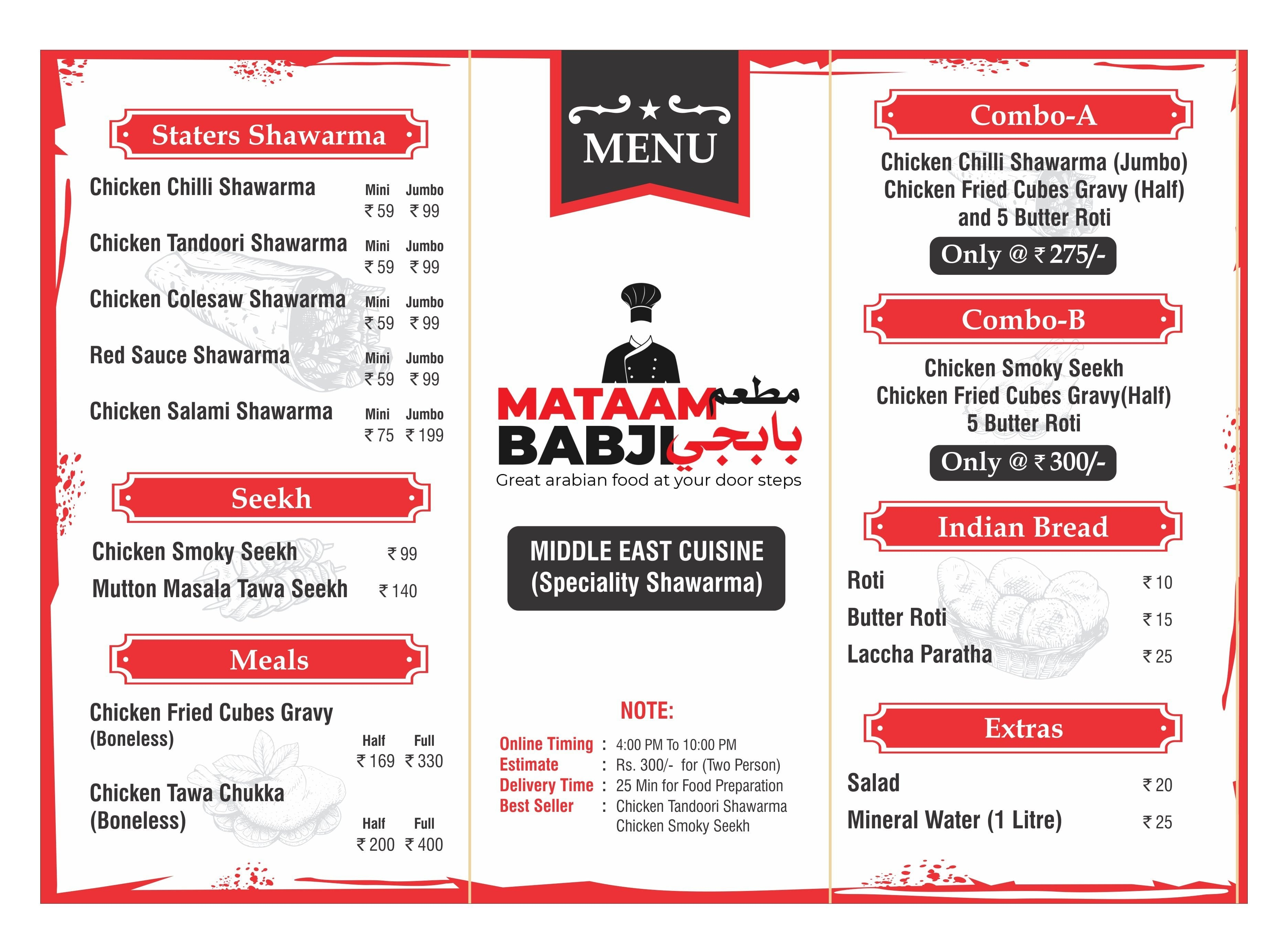 Mat-aam Babji(Speciality Arabic Food) Menu - Zomato