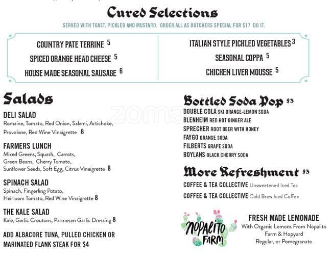 Menu at Rare Form, 793 J St - Restaurant prices