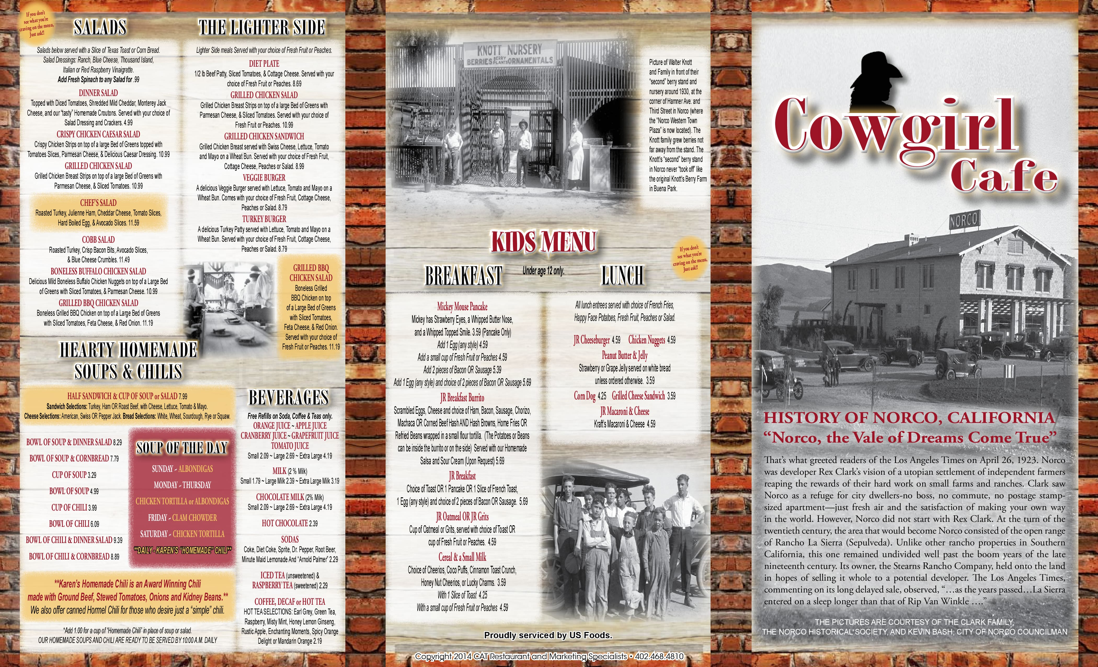 Cowgirl Cafe Norco Menu
