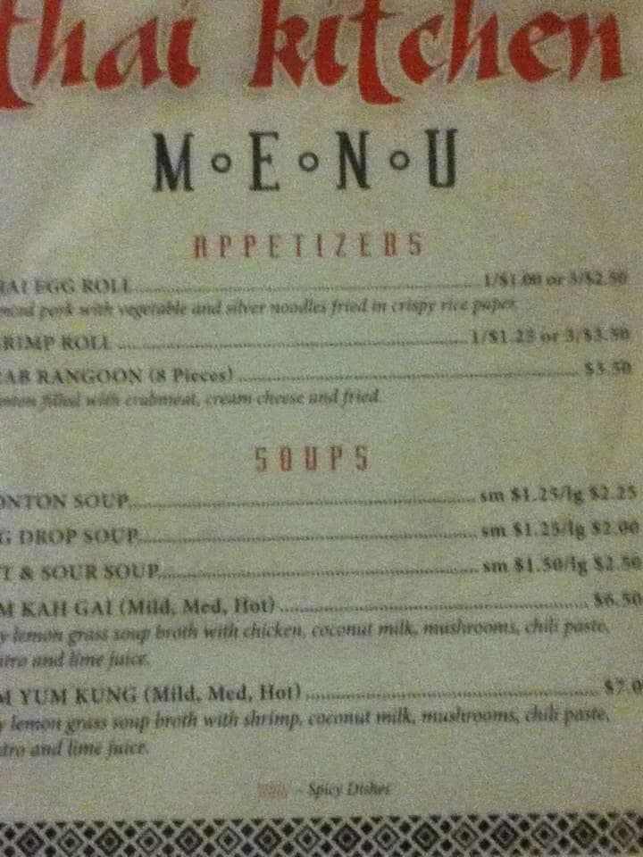 Thai Kitchen Menu Menu For Thai Kitchen Childress
