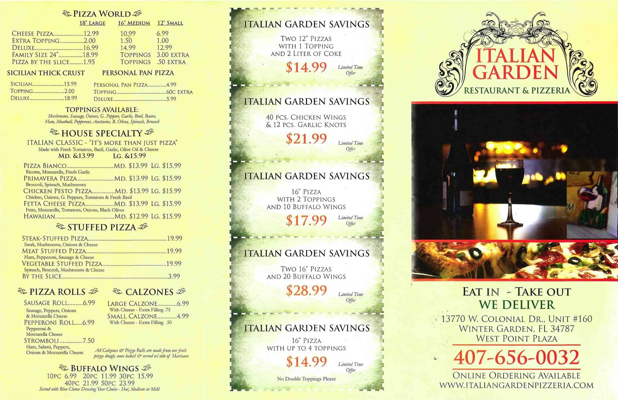 italian garden restaurant u0026 pizzeria menu urbanspoon zomato