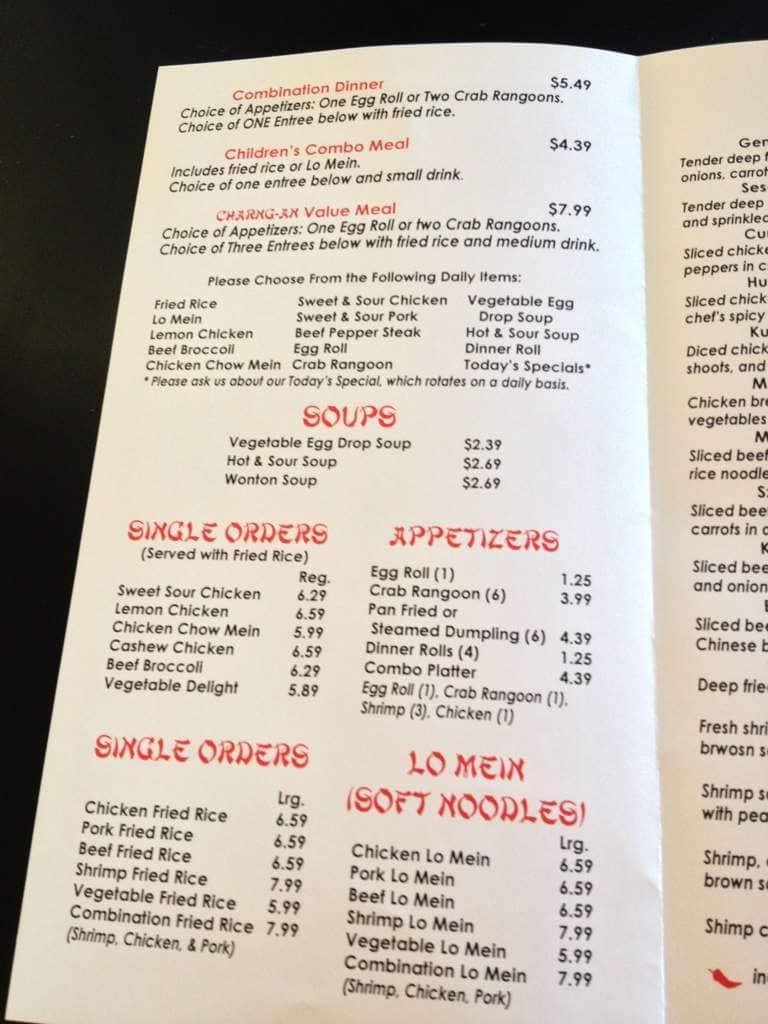 Charng An Chinese Restaurant Menu Urbanspoonzomato