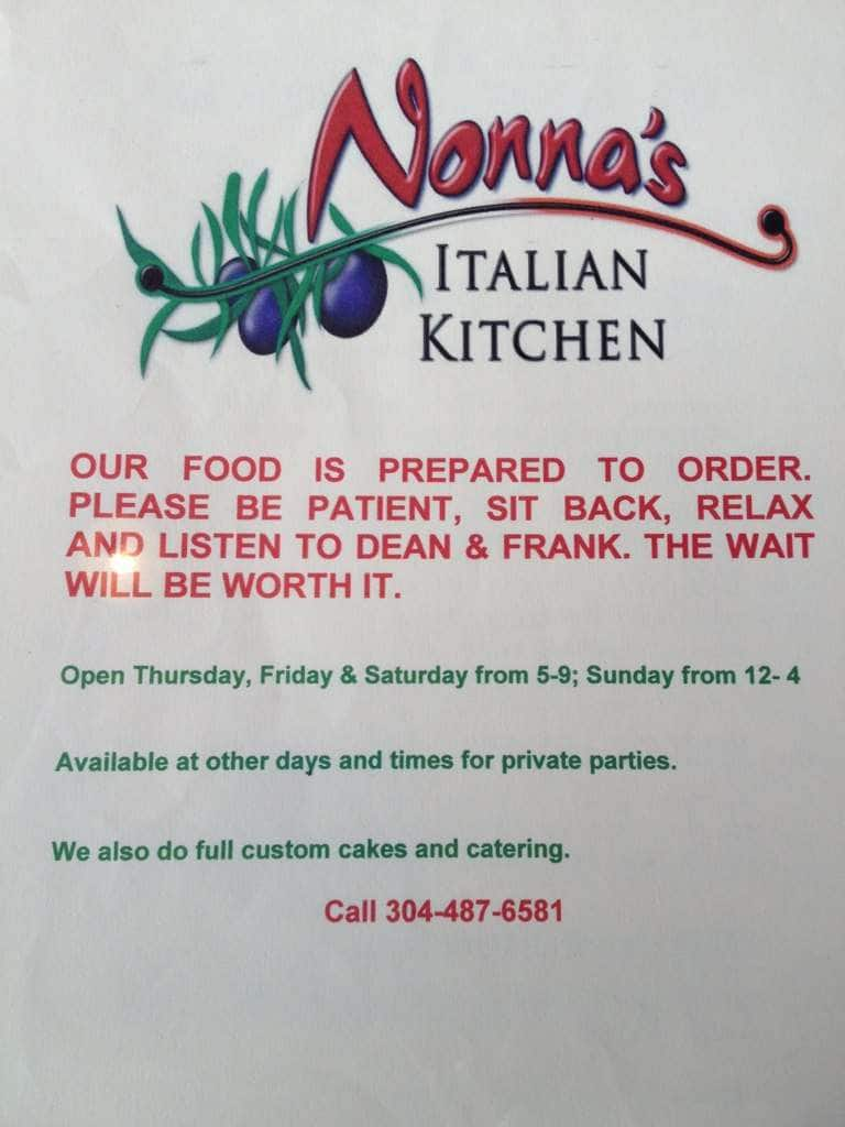 nonna's italian kitchen menu - urbanspoon/zomato