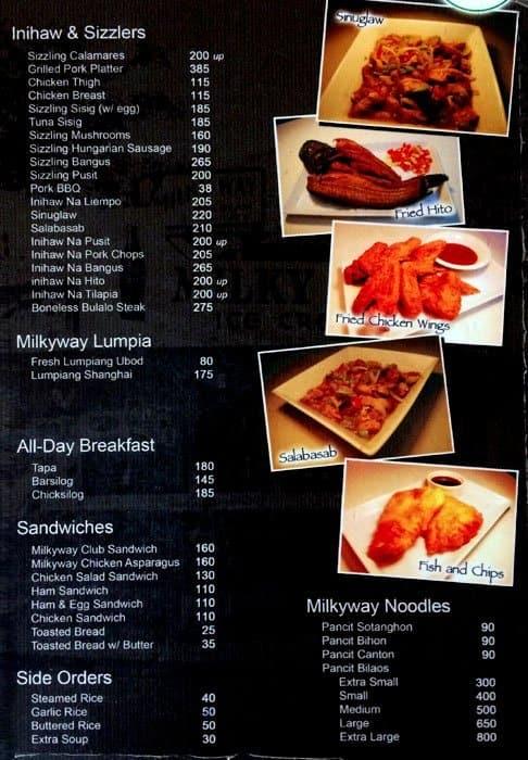 Milky Way Restaurant Makati Menu