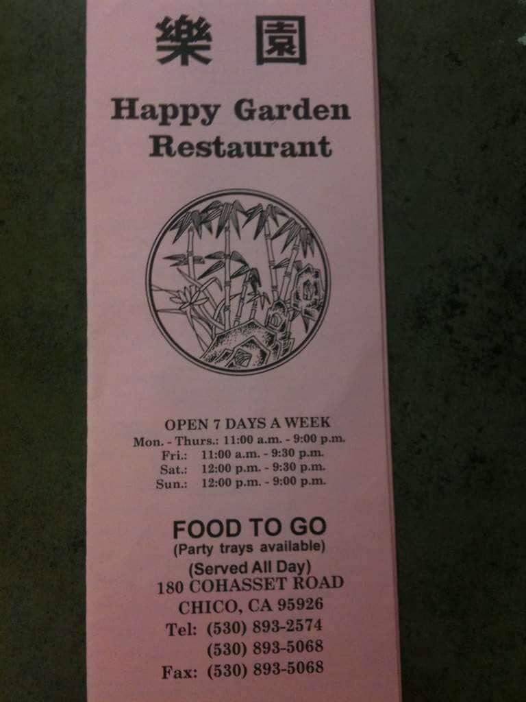 Happy Garden Menu Menu For Happy Garden Chico Chico Urbanspoon