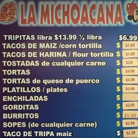 La Michoacana Meat Market Taqueria Panaderia Menu Urbanspoon Zomato