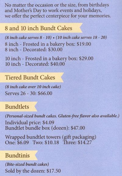 Nothing But Bundt Cakes Menu