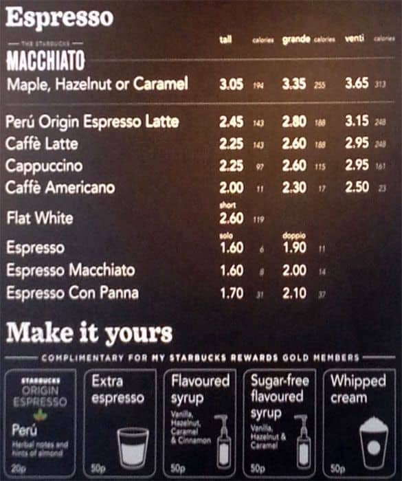 Menu at Starbucks cafe, Manchester, Overseas House