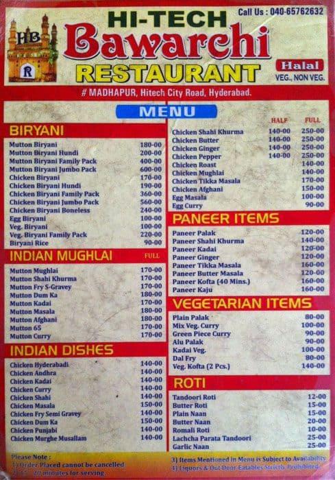 Hitech Bawarchi Menu, Menu for Hitech Bawarchi, Madhapur ...