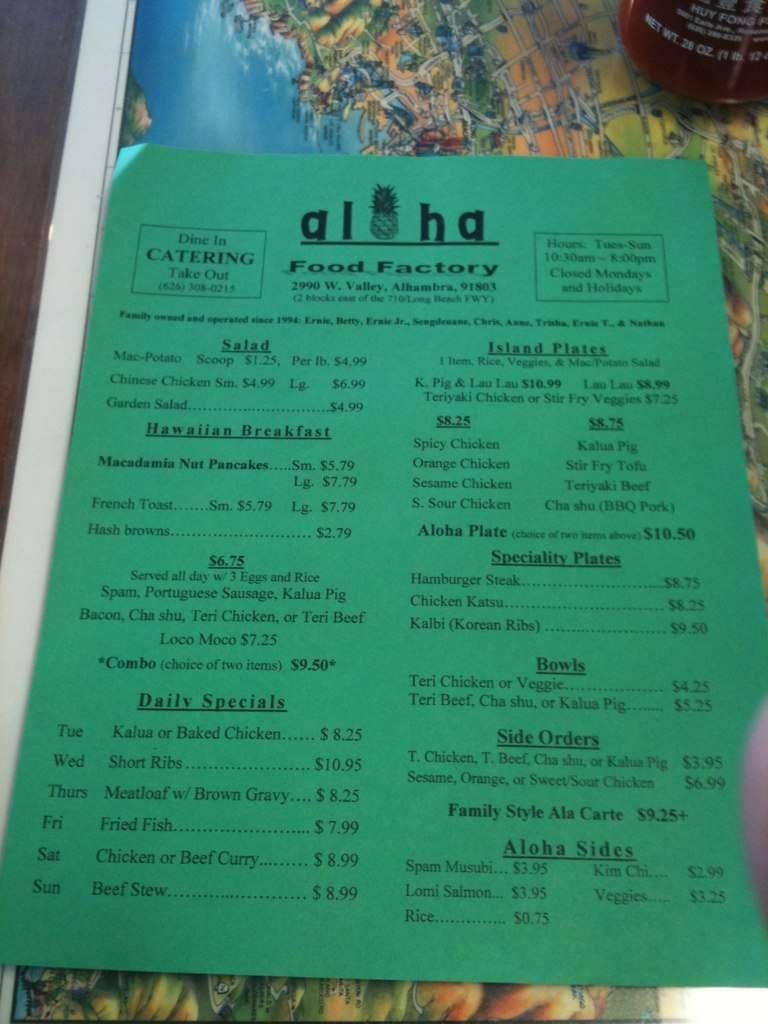 Aloha Food Factory Menu Menu For Aloha Food Factory Alhambra