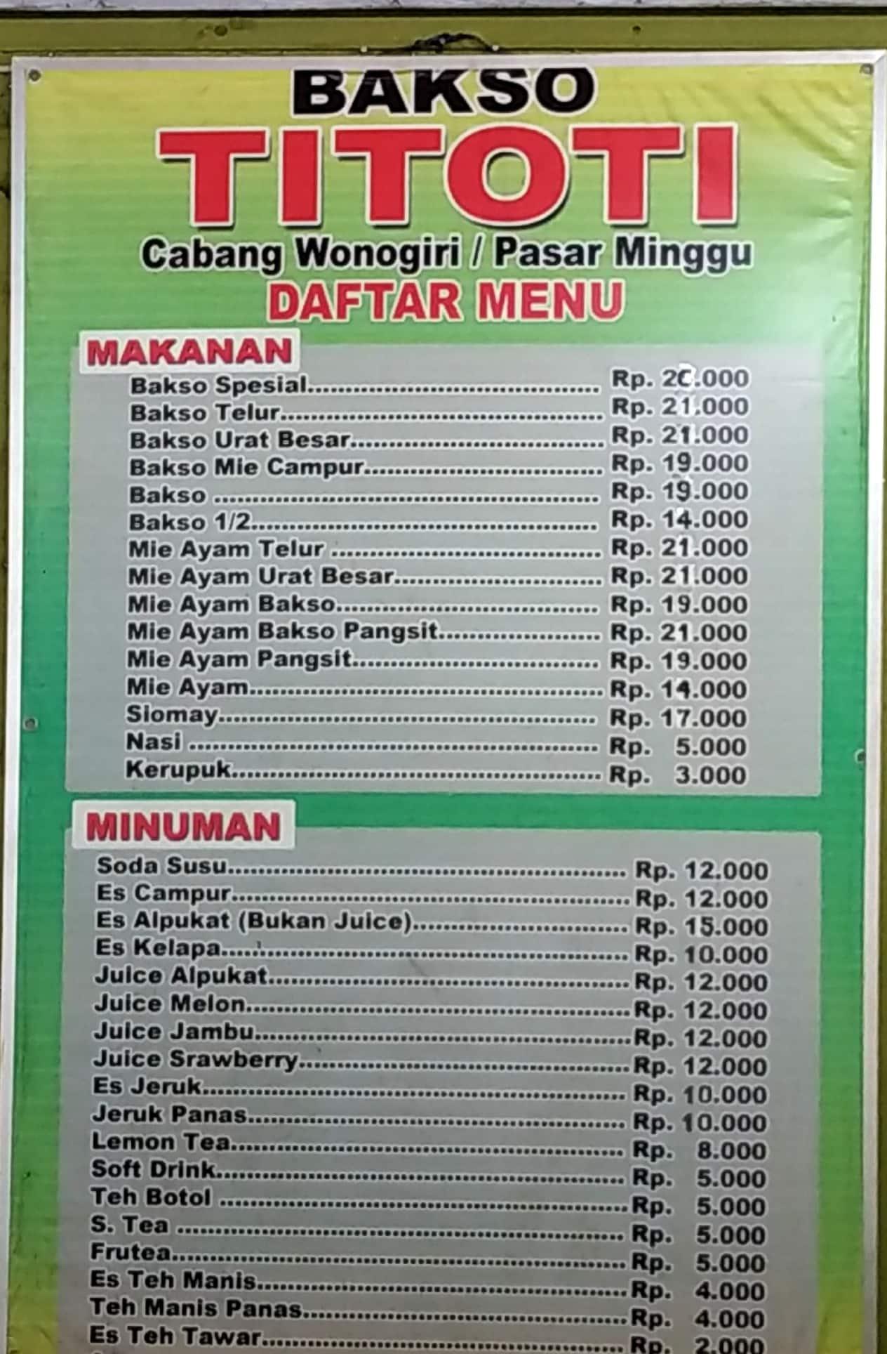 bakso titoti menu menu for bakso titoti pasar minggu jakarta rh zomato com
