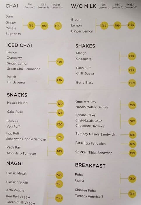 Chai Point Menu Menu For Chai Point Connaught Place New