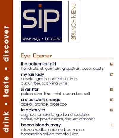 Sip Wine Bar And Kitchen Menu Menu For Sip Wine Bar And