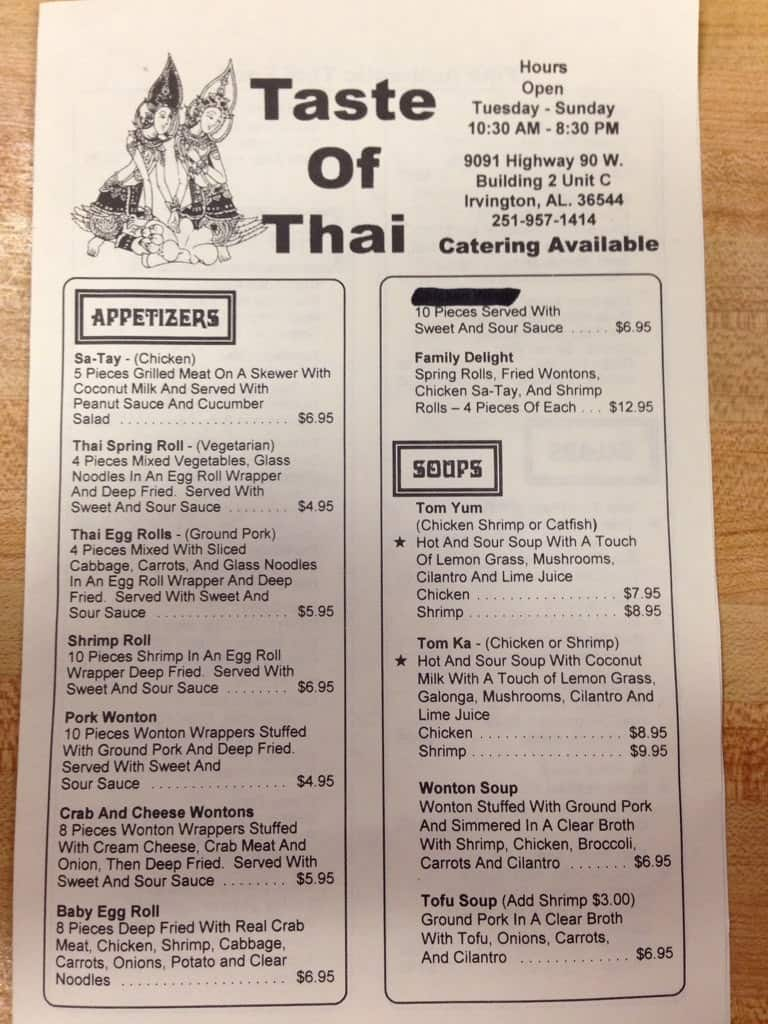 Taste Of Thai Menu Menu For Taste Of Thai Irvington Mobile Bay