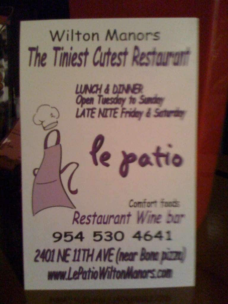 Le Patio, Oakland Park/Wilton Manors Menu
