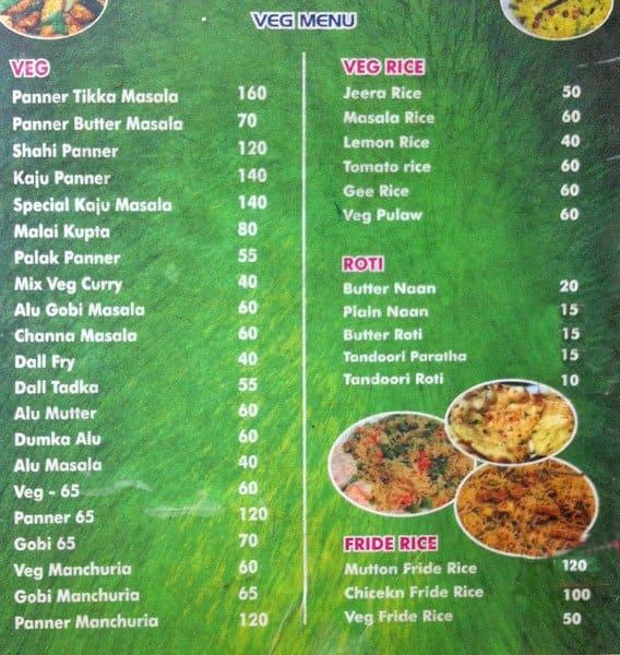 Non Veg Restaurants Menu