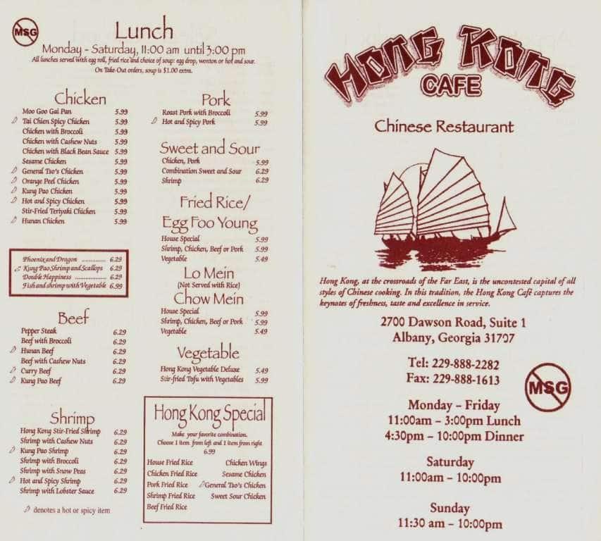 Hk Cafe Albany Menu
