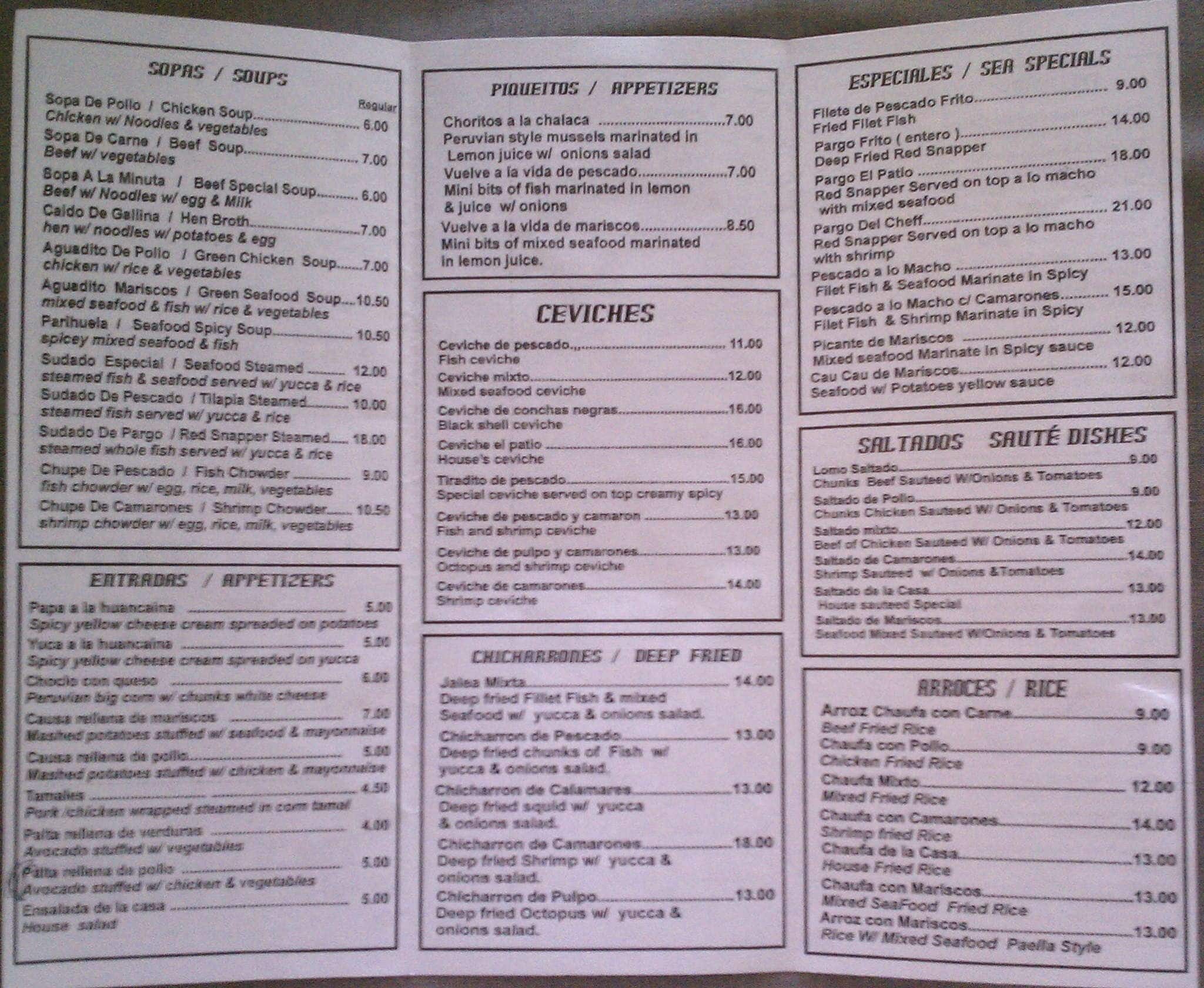 Beautiful El Patio Restaurant, Fort Myers Menu