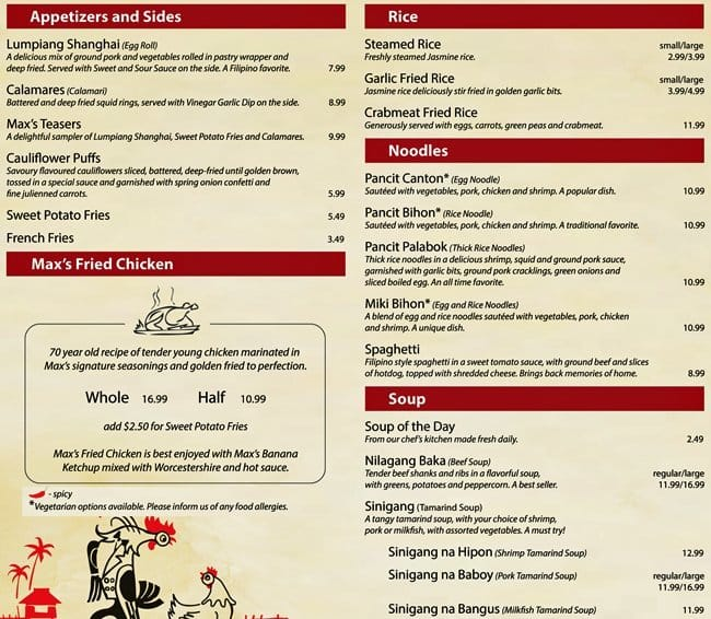 MaxS Restaurant Menu Menu For MaxS Restaurant Victoria