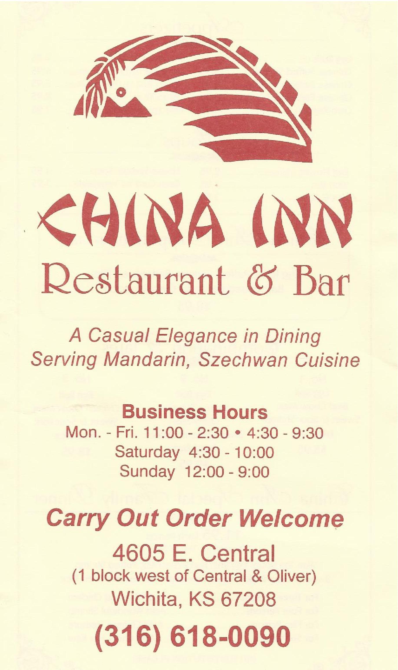 China Inn Restaurant Menu Menu For China Inn Restaurant Wichita