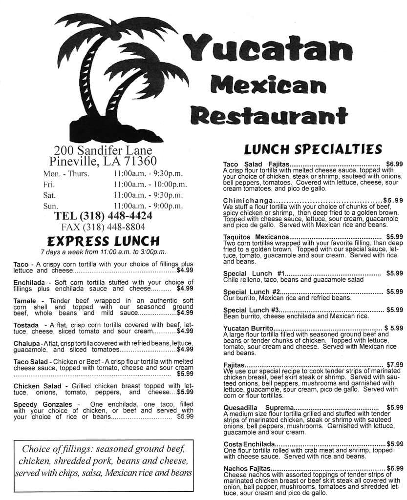 Yucatan Mexican Restaurant Pineville Menu