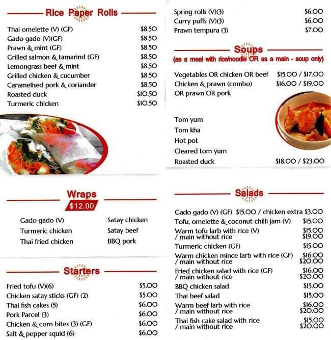 Wrap N Rice Thai Cafe Menu Menu For Wrap N Rice Thai Cafe