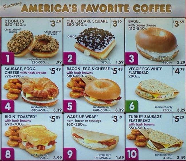 Dunkin' Donuts Menu, Menu for Dunkin' Donuts, Airport: PHL ...