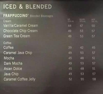 Starbucks Coffee Menu Menu For Starbucks Coffee Menteng