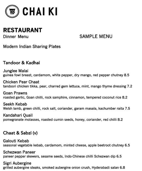 Chai Ki Menu, Menu for Chai Ki, Canary Wharf, London - Zomato UK