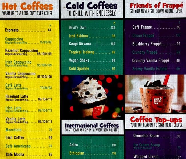 Cafe Coffee Day Menu Price List Chennai