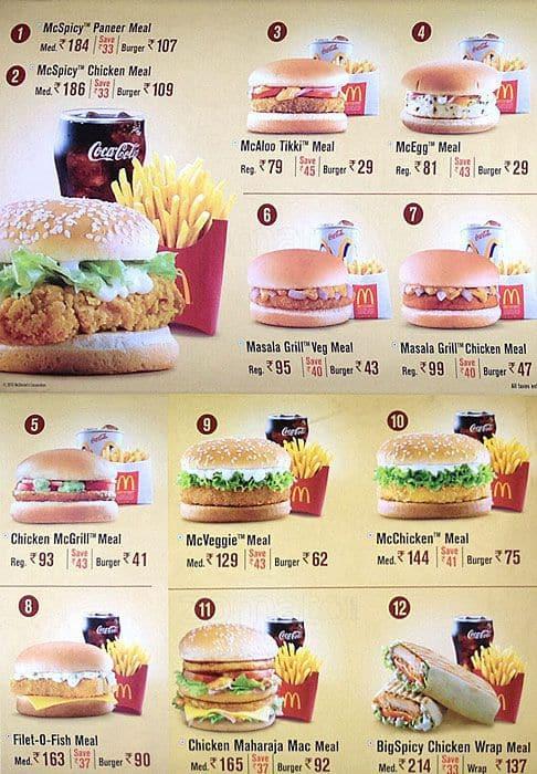 mcdonalds menu and prices