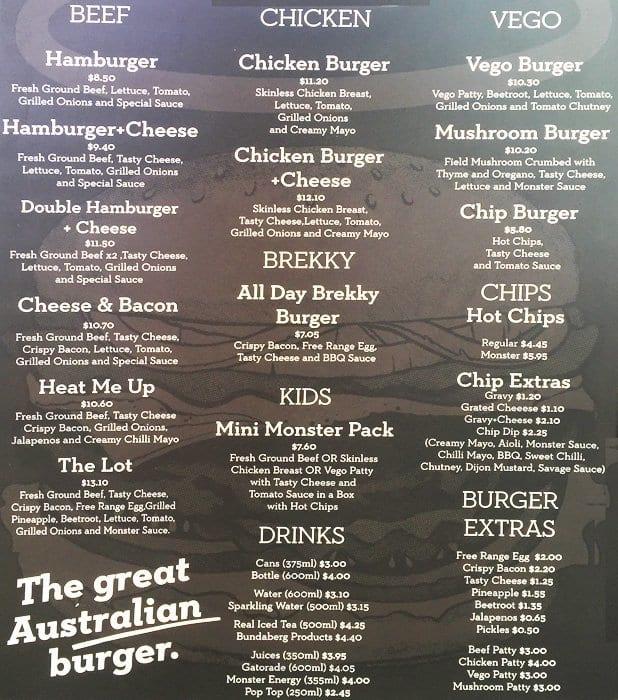 Monster Burger Menu Singapore Best Burger 2017