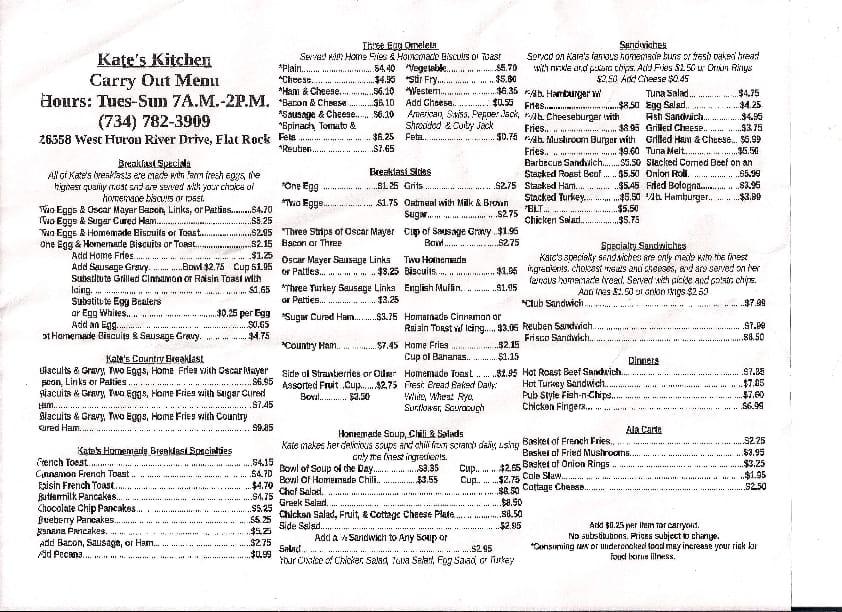 Kate S Kitchen Flat Rock Mi Menu