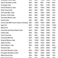 Scanned menu for Cake 24x7