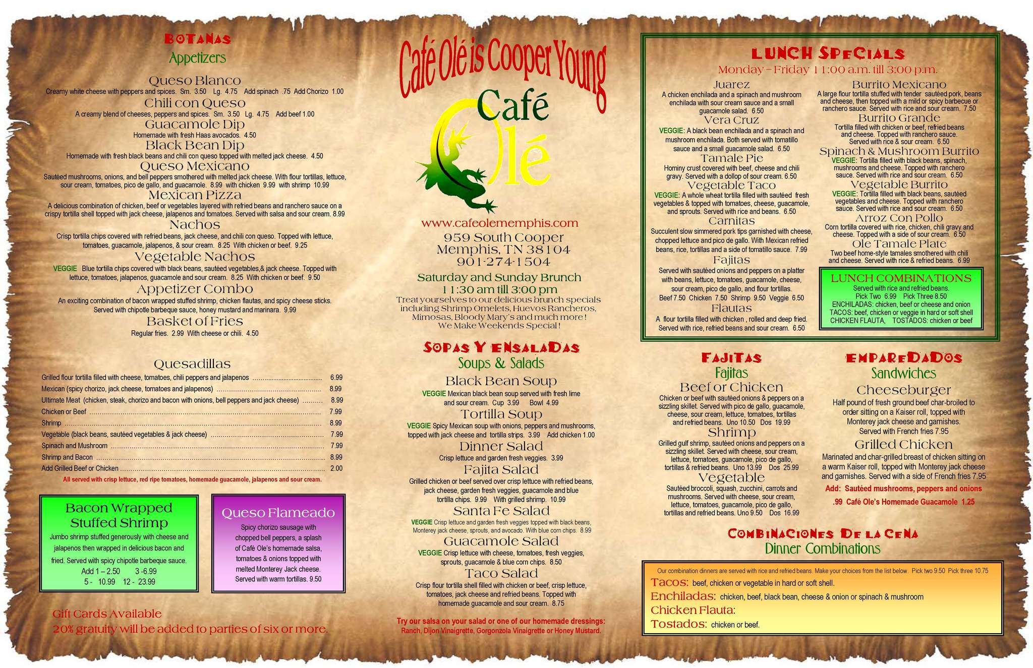 Cafe Ole Prices