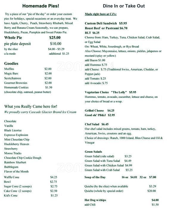 CJ's Evergreen General Store Menu - Urbanspoon/Zomato