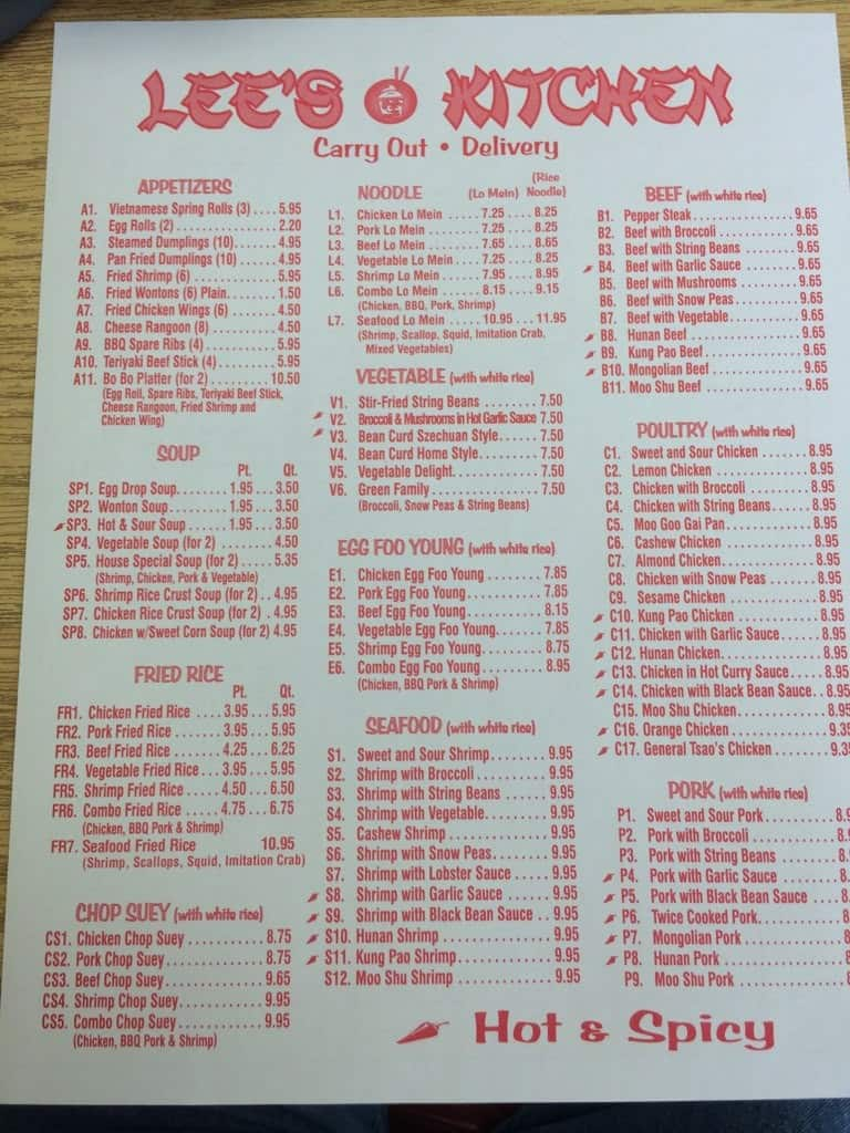 the restaurant information including the lees kitchen menu items and prices may have been modified since the last website update - Lees Kitchen Menu