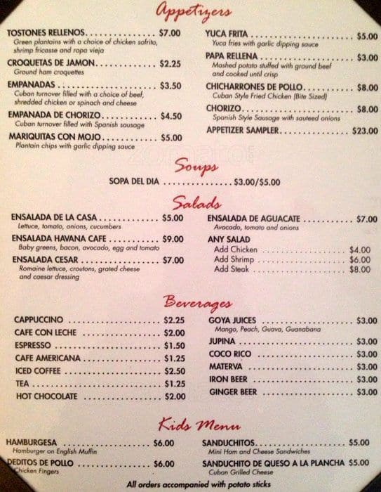Cafe Habana Menu