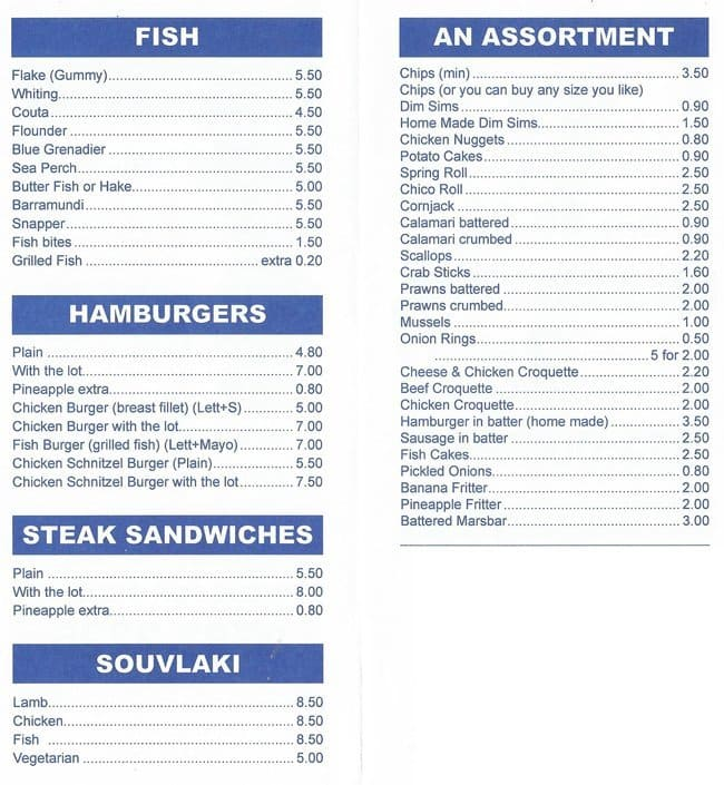 Fish bites menu menu for fish bites ferntree gully for Two fish menu