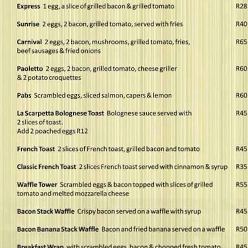 Paoletto Menu Menu For Paoletto Edenvale East Rand