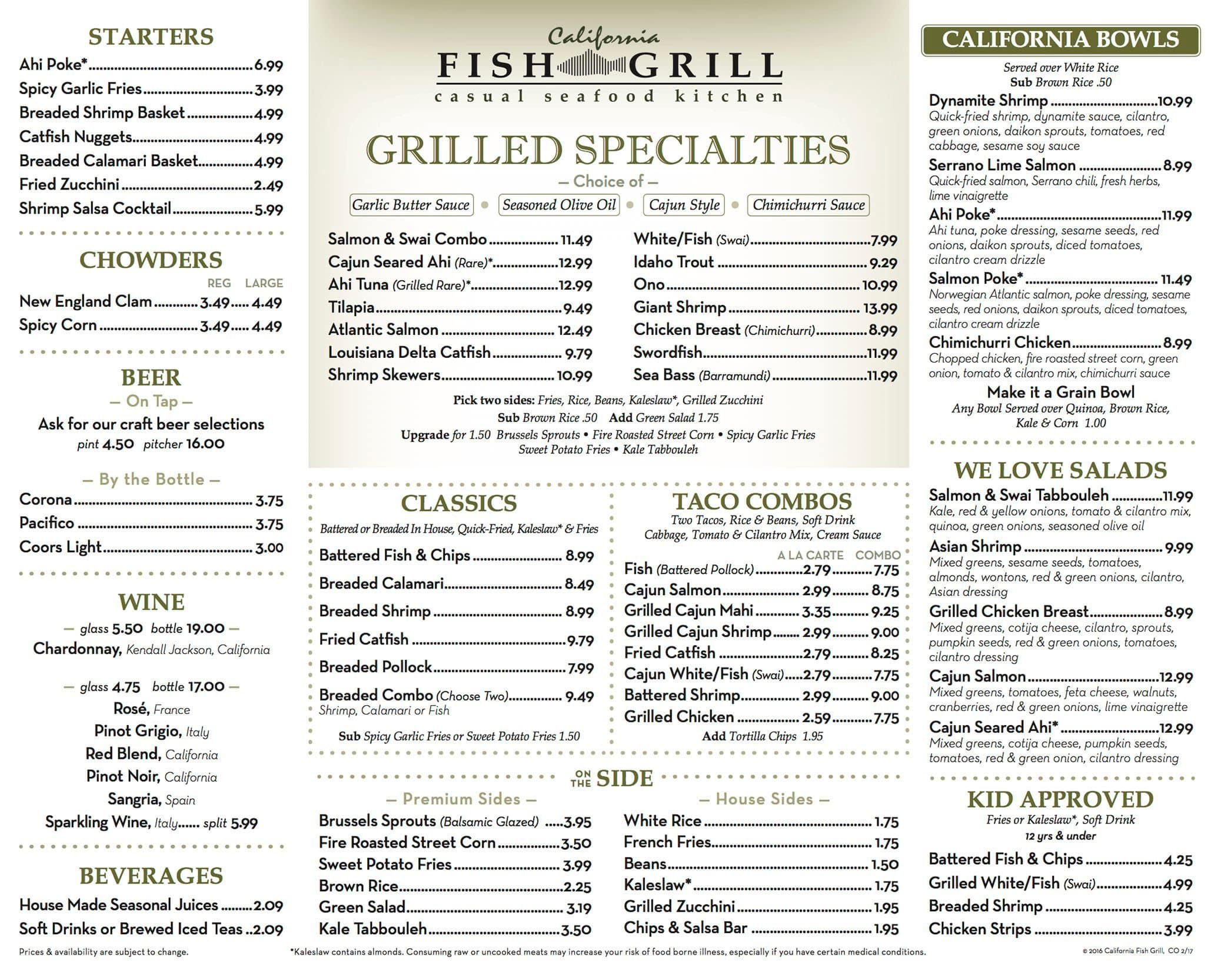 california fish grill menu menu for california fish grill