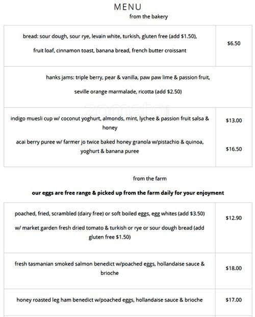 Indigo Restaurant Double Bay Menu