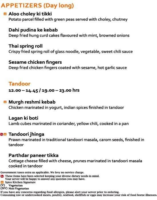 Spice Kitchen Jw Marriott Pune Menu Zomato