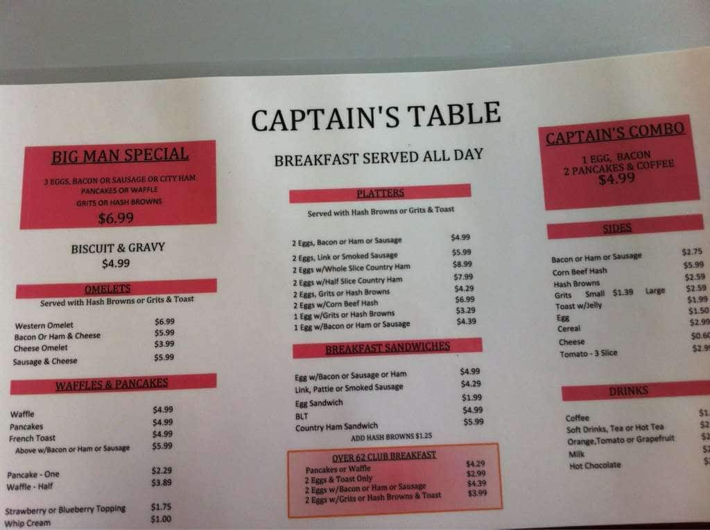 Captain S Table Menu Menu For Captain S Table Morehead